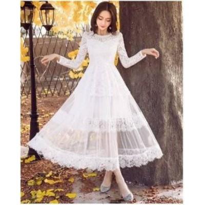 ドレス ワンピース レース ロング丈 20代 黒 白 透け感 シースルー 大人可愛い 上品 春夏 結婚式 お呼ばれ a324