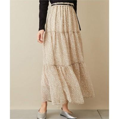 スカート レオパード柄シフォンティアードスカート