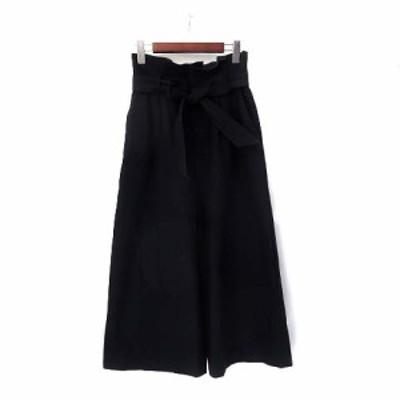 【中古】ジルスチュアート JILL STUART ガウチョ パンツ 0 XS 紺 ネイビー リボン ワイド クロップド 無地 シンプル レディース