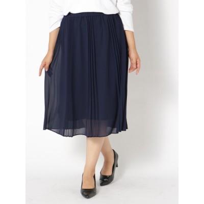 【大きいサイズ】【LL-3L】プリーツスカート 大きいサイズ スカート レディース