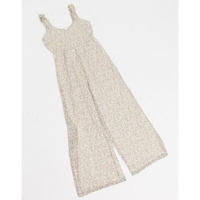 ヴィラ Vila レディース オールインワン ジャンプスーツ ワンピース・ドレス jumpsuit with gathered straps in cream floral マルチカラー