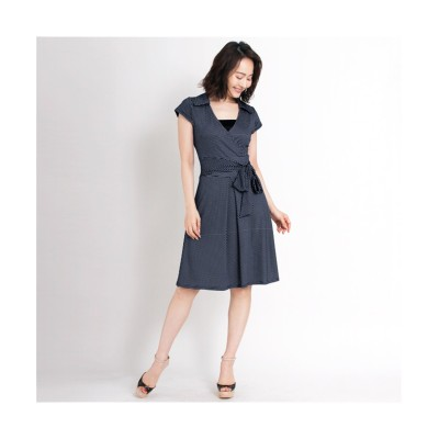 MARTHA(マーサ) ドットプリントキャップスリーブカシュクールワンピース (ワンピース)Dress