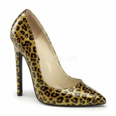 取寄 靴 送料無料 ポインテッドトゥ 人気のアニマル柄 ハイヒールパンプス 12.5cmピンヒール 金ゴールドヒョウ柄 DEVIOUSデビアス 大きい