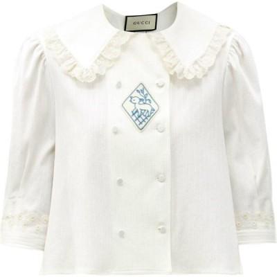 グッチ Gucci レディース ブラウス・シャツ トップス Lamb-embroidered cotton-voile blouse White