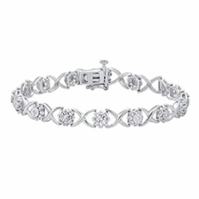 Dazzlingrock Collection 0.12 Carat (ctw) Round White Diamond Ladies Flower Illusion Set Bracelet, 925 Sterling Silver