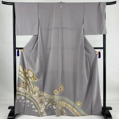 色留袖 美品 秀品 帝王紫 一つ紋 華文 うさぎ 刺繍 金糸 灰紫 袷 167cm 67cm M 正絹 中古