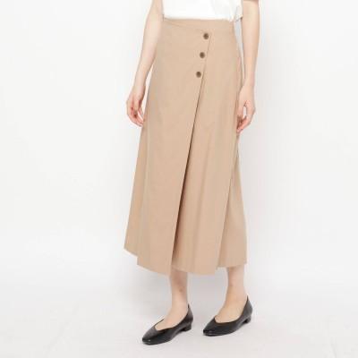 エアパペル AIRPAPEL 【ハンドウォッシュ】麻混ラップボタンスカート (ベージュ)