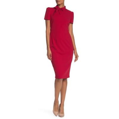 マギーロンドン レディース ワンピース トップス Tie Neck Short Sleeve Crepe Sheath Dress RED