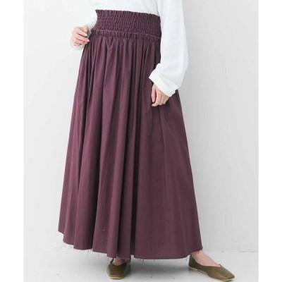 スカート MEDE19F コットンギャザーロングスカート