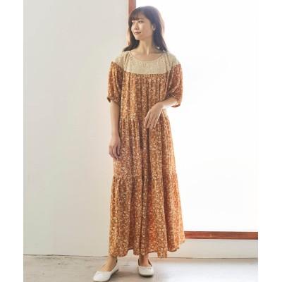 大きいサイズ 小花プリントレース切替ティアードワンピース ,スマイルランド, ワンピース, plus size dress