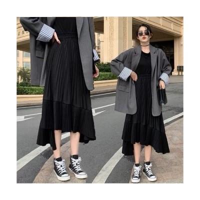 【ブラック/フリーサイズ】アシンメトリー 細プリーツ スカート 上品 モード シンプル おしゃれ アンバランスヘム
