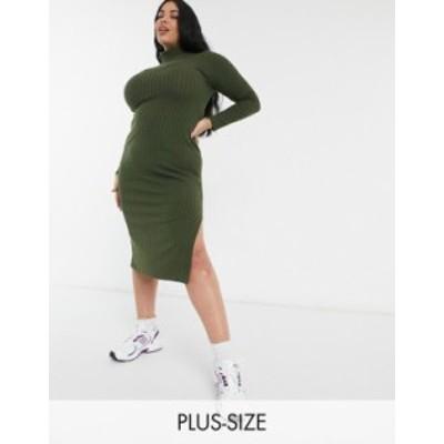 リバーアイランド レディース ワンピース トップス River Island Plus long sleeve cozy midi dress in khaki Green