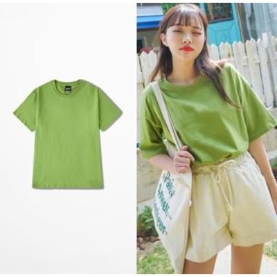 2点送料無料 超人気   カップル ペアルック男女兼用 トップス 韓国風 ゆったり 短袖Tシャツ    ソリッドカラー