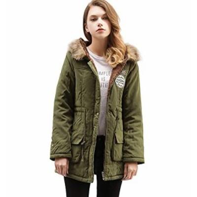 【送料無料】AGOWOO ダウンジャケット レディース 綿ジャケット 冬用 ファー付き アウター フード 暖かい コート