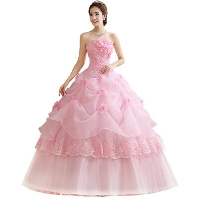 花嫁ドレス結婚式ウェディングドレス二次会ドレスパーティードレストレーンドレスイブニングドレスキャバ嬢ドレスハイウエストホワイトスパンコール編み上げ薔薇
