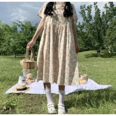 【取り寄せ】レディース ワンピース 半袖 花柄 ひざ下丈 ミモレ丈 ゆったり 大人 フェミニン ガーリー 可愛い おしゃれ デイリー カジュ