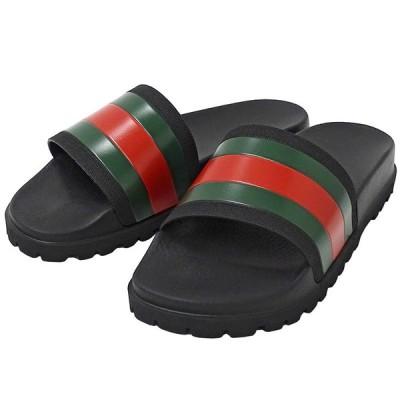 グッチ GUCCI シェリー スライドサンダル シューズ 靴 ラバー ブラック メンズ サイズ9 429469