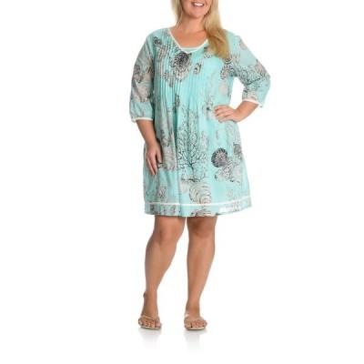 ラセラ ドレス La Cera Women's Plus Size Printed Tunic Dress