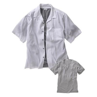 Louis Chavlon(ルイシャブロン)2点セット(楊柳半袖シャツ+Tシャツ) 大きいサイズメンズ カジュアルシャツ, Shirts,