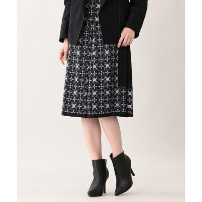 スカート スノーフラワーパネルプリントスカート