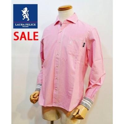 【半額 50%OFF SALE】 ラウラフェリーチェ メンズシャツ ピンク 無地 メンズ服 日本製