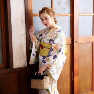 浴衣 セット レディース 浴衣 3点セット(浴衣/帯/下駄)浴衣セット 大人 レディース 女性 白 オレンジ 黄色 紫 緑 ベージュ
