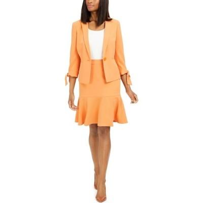 ル スーツ Le Suit レディース スーツ・ジャケット スカートスーツ アウター Petite Ruffle-Trim Skirt Suit Apricot Orange