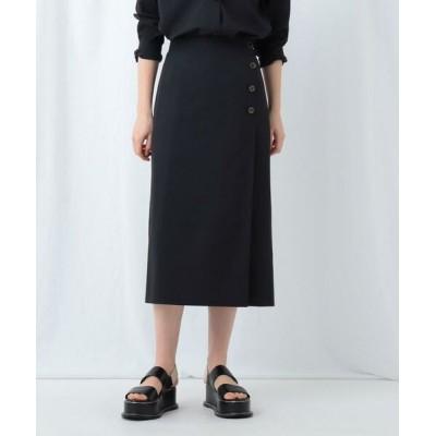 INDIVI/インディヴィ 【WEB限定】スパンライク ラップ風スカート ブラック(019) 38(M)