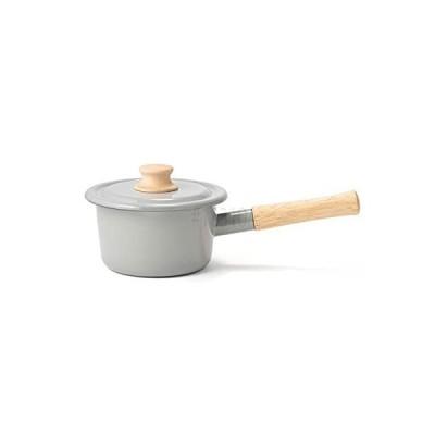 富士ホーロー 片手鍋 ミルクパン コットンシリーズ ライトグレー 14cm CTN-14M.LG