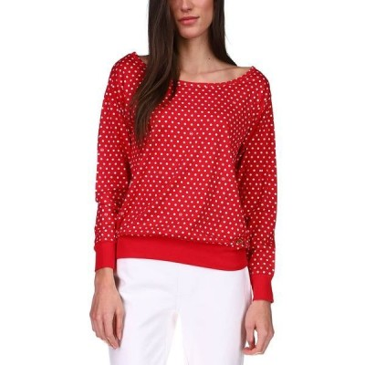 マイケルコース カットソー トップス レディース Dot-Print Off-the-Shoulder Top Crimson
