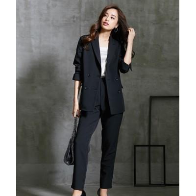 スニーカー合わせが似合う。ダブルブレストジャケットスーツ【レディーススーツ】 【レディーススーツ】通勤・社会人・リクルートスーツ, Women's Suits
