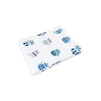 タオルケット ネコ柄 プリント シングル 140×190cm 綿100% 202-151 (ブルー)