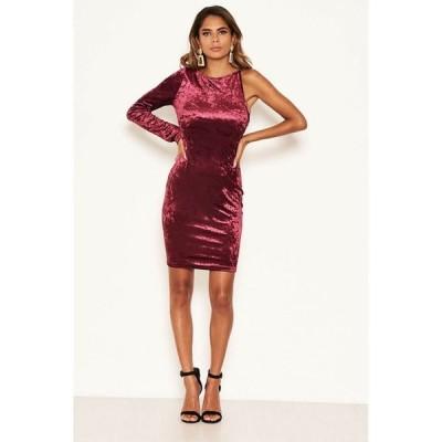 アックスパリ レディース ワンピース トップス Women's Crushed Velvet One Sleeve Dress