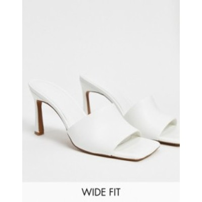エイソス レディース サンダル シューズ ASOS DESIGN Wide Fit Hattie mid-heeled mule sandals in white White