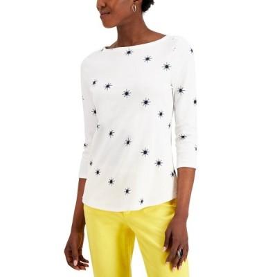 チャータークラブ カットソー トップス レディース Printed 3/4-Sleeve Cotton Top, Created for Macy's Bright White Combo