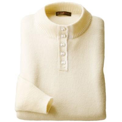 ウール100%洗えるボタン使いセーター/オフホワイト/L