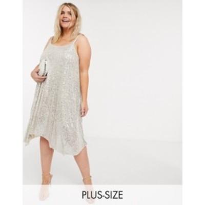 リバーアイランド レディース ワンピース トップス River Island Plus sequin cami mini dress in silver Silver