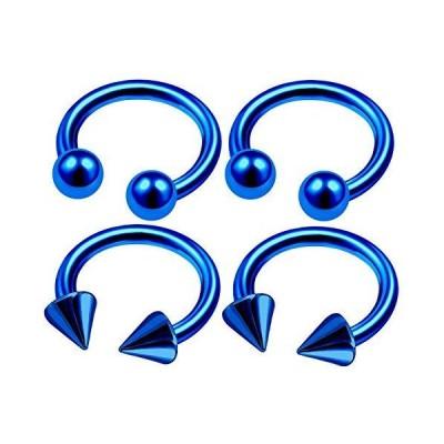 4Pcs Blue Anodized 14 Gauge 3/8 10mm Earrings Horseshoe Piercing Jewel