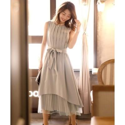 ドレス チュールフィッシュテールワンピースドレス大きいサイズミモレ丈&ノースリーブ結婚式フォーマル