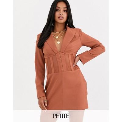 ミスガイデッド ミディドレス レディース Missguided Petite plunge blazer dress with fishnet panels in rose エイソス ASOS