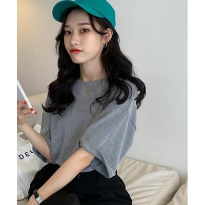 (Girly Doll/ガーリードール)【2021春夏商品】バックロゴビッグシルエットTシャツ【韓国ファッション】/レディース グレー