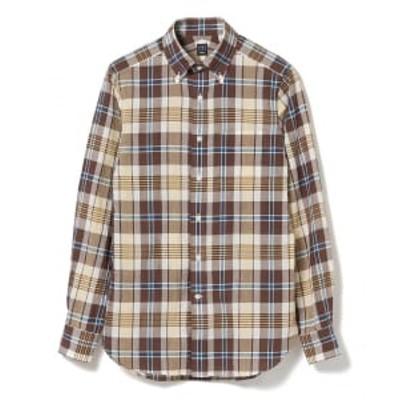 BEAMS F / ブラウン マドラスチェック ボタンダウンシャツ