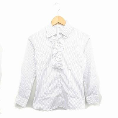 【中古】les mues Femme シャツ ブラウス フリル ストライプ ステンカラー 長袖 9 白 黒 ホワイト ブラック /TT25 レディース 【ベクトル 古着】