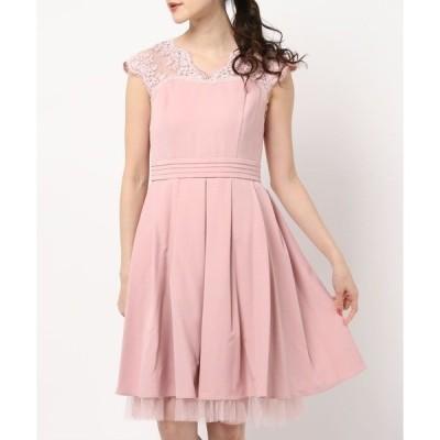 ドレス 【Cupid Heart】結婚式、謝恩会におすすめドレス♪レース×サテン フィットアンドフレアードレス