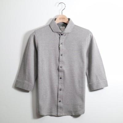 公式 gim ジム 裏カノコバ-ズアイシルケットワイドカラ-7分袖シャツ S 211012