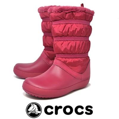 防寒 防水 軽量 防滑 スノーブーツ ボア レディース クロックス crocs 205314 6D1 ポメグラネイト crocband winter boot w 雪 冬 ビーンブーツ