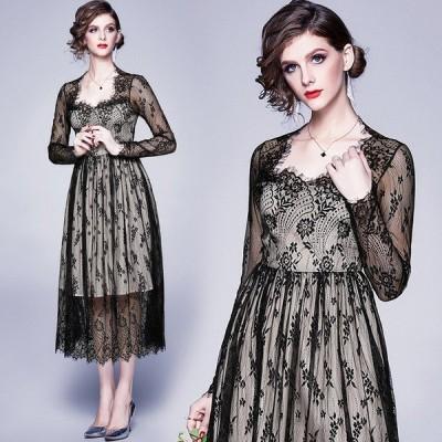 ドレス 結婚式 お呼ばれ ミモレ丈 ワンピースドレス 袖あり 安い 30代40代 かわいいドレスワンピース 結婚式レースドレス