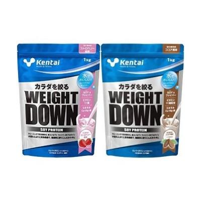 【セット買い】Kentai ウェイトダウン ソイプロテイン 甘さ控えめストロベリー風味 1kg & ウェイトダウン ソイプ?