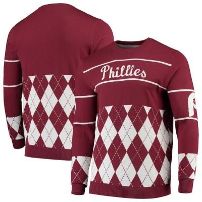 """メンズ セーター """"Philadelphia Phillies"""" Retro Stripe Pullover Sweater - Burgundy"""