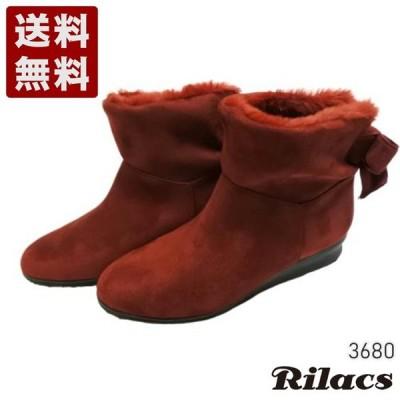 【Rilacs 3680 ワイン】ボア付きバックリボンショートブーツ